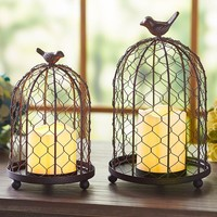 Rustic Chickenwire Birdcage Cloche w/LED Candle Farmhouse Country Home Decor