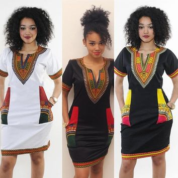Women's Traditional Tribal African Print Dashiki Style Short Sleeve Party Bodycon Hippie Dress