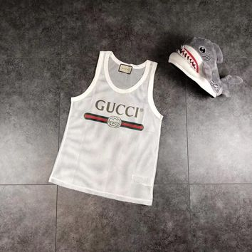 """Gucci"" Women Fashion Letter Print Gauze Hollow Mesh Vest Sleeveless Casual Tops"