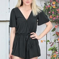 Short Sleeve Modal Surplice Romper {Black}
