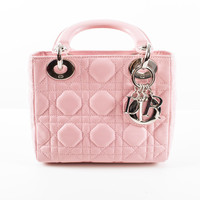 "Pink Quilted Lambskin Mini ""Lady Dior"" Bag"