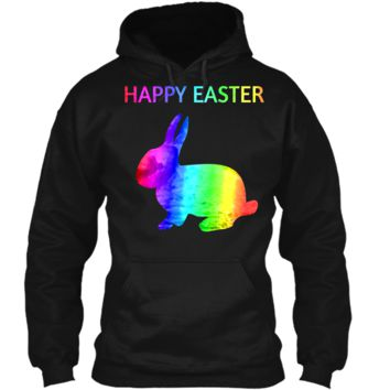 Happy Easter - Easter Bunny water color rainbow Rabbit Pullover Hoodie 8 oz