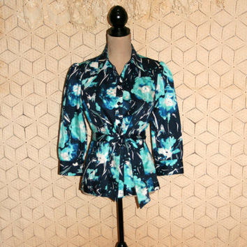 Blue Abstract Print Blouse 3/4 Sleeve Shirt Spring Top Crop Sleeve Cotton Casual Button Up Belted Jones New York Size Medium Womens Clothing