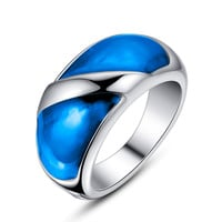 Stainless Steel Blue Epoxy Ring