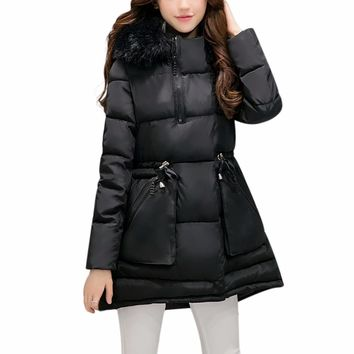 Women's Thickened Warm Korean Style Down Jacket Long Faux Fur Collar Hooded Cotton-padded Coat Plus Size Autumn Winter Parkas