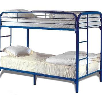 Metal Based Twin Over Twin Bunk Bed With Side Ladders Blue