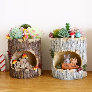 1Pc Creative Tree House Resin Animals Flower pots Succulent Plant Pots Micro-landscape Fairy Garden Decoration Bonsai Planter