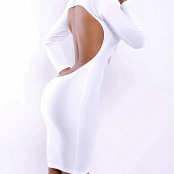 White Turtleneck Backless Bodycon Dress