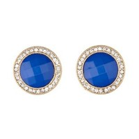 Cobalt Rhinestone-Trimmed Gem Earrings by Charlotte Russe