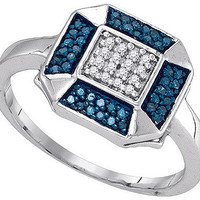Blue Diamond Fashion Ring in 10k White Gold 0.2 ctw