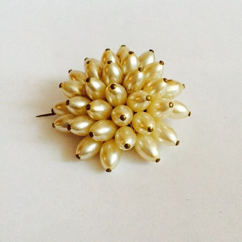 Vintage Brooch, 1950's,Wedding Brooch Pearl ,pearl pin