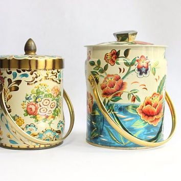 Vintage 50s Jewel Tone Kitchen Canister Set of 2 Tins Murray-Allen Imports | Floral Metal Mid Century 1960s 1950s Unique Home Decor Colorful