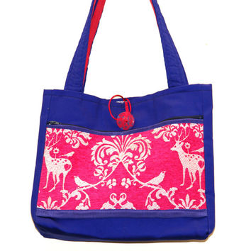 Royal Venice in Pink and Blue Handmade Tote Bag