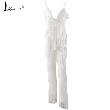 Free Shipping  2016 Sexy sleeveless V-NECK  halter lace tassel jumpsuits FT4661