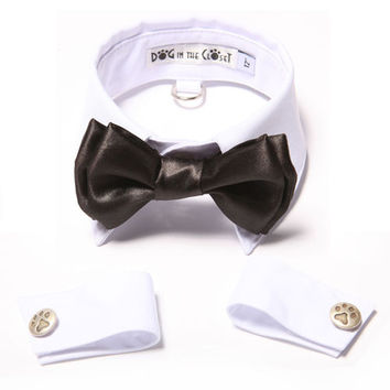 White Shirt Collar + Black Bow Tie + Cuffs