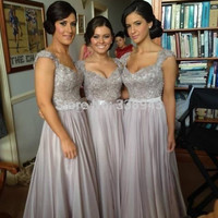 New Arrival 2017 A-line Sweetheart Cap Sleeves Gray Chiffon Squins Long Bridesmaid Dresses Wedding Party Dresses