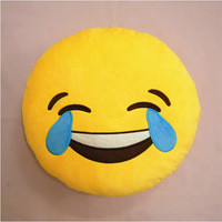Emoji Crying Emoticon Yellow Round Pillow