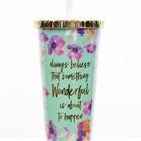 Always Believe 24 oz Tumbler w/ Gold Lid {Teal Floral}