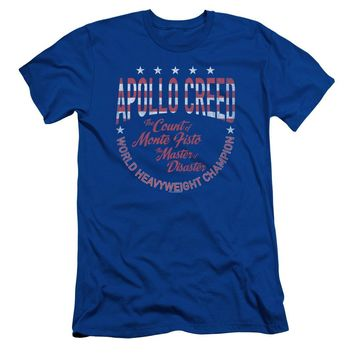 Rocky Slim Fit T-Shirt Apollo Creed Heavyweight Champion Royal Tee