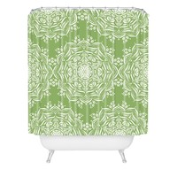 Lisa Argyropoulos Lotus and Green Shower Curtain
