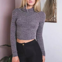 Gray Turtleneck Long Sleeve Knitted Cropped Tops