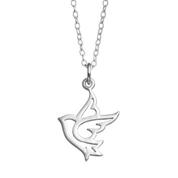 Journee Collection Sterling Silver Dive Pendant Necklace (Grey)