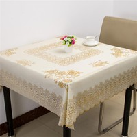 Modern Concise Oil-proof Water-proof Square Tablecloth Pastoral PVC Material Decor Table Dustproof Cover Floral Lace Tarpaulin