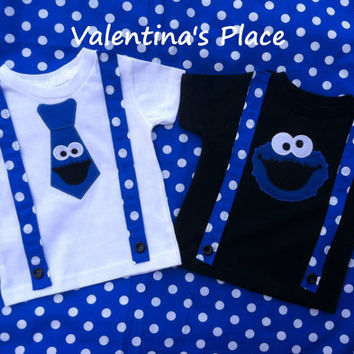 Cookie Monster t-shirt with tie or Cookie monster head applique with suspenders