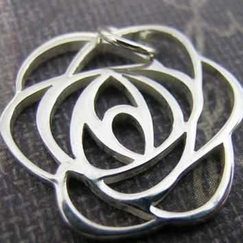 Sterling Silver Rose Charm(one charm)