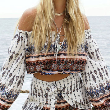 Polychrome Off Shoulder Geo-tribal Flared Sleeve Crop Top And Shorts