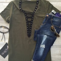 Holly Plunging V-Neck Lace Up T-Shirt Dress - Olive