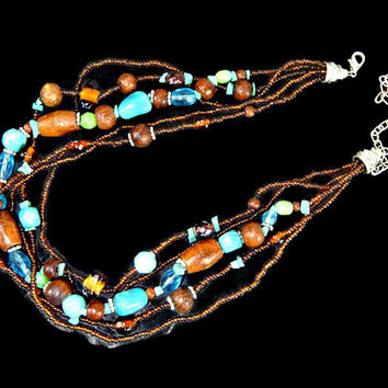 Multi Strand Wood Art Glass and Ceramic Bead Necklace Blue and Brown