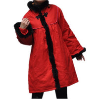 Winter tunic coat/ Stand-up collar padded coat in red