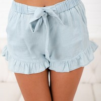 Take It Breezy Ruffle Shorts (Light Blue)