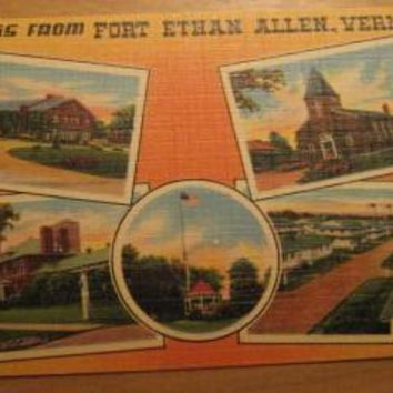 Vintage Greetings From Fort Ethan Allen Vermont Postcard