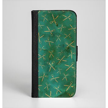 The Green And Gold Vintage Scissors Ink-Fuzed Leather Folding Wallet Case for the iPhone 6/6s, 6/6s Plus, 5/5s and 5c