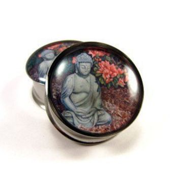 Buddha Picture Plugs gauges  00g 1/2 9/16 by mysticmetalsorganics