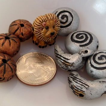 Handmade Earthen Clay Beads Lion, Birds and Shapes