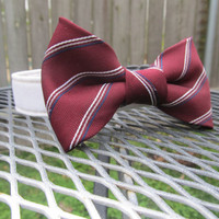 Dog collar and Bow Tie - READY To SHIP  Wedding Dark Red/Burgundy and stripes Bowtie with a White Collar -, wedding, bowtie dog collar