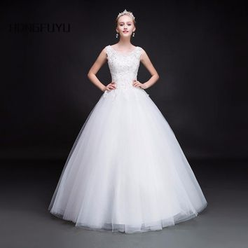 Princess Scoop Neck Tulle Sleeveless Long Wedding Dresses Beaded Lace UP Ball Gown Wedding Gowns