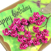 Happy Birthday - Tye Dye Background Card - Pink flowers - Bird Card
