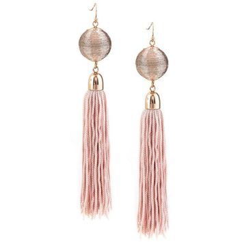Sophia Blush Fringe Earrings (Pink)