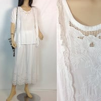 80s Bali Dress White Lace Skirt Hippie Rayon Dress Cutwork Open Lace Matching Set Vintage White Long Dress s small m medium