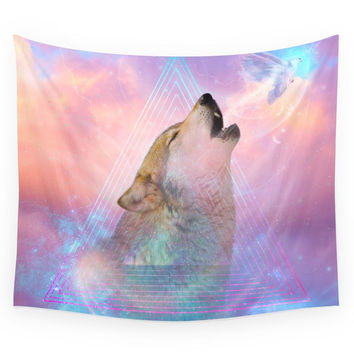 Society6 Dream By Day Wolf Dreams Remix Series Wall Tapestry
