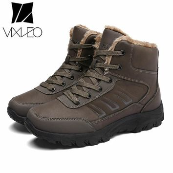 VIXLEO Brand Men Boots Big Size 39-45 Men Winter Boots Warm Plush Snow Boots Mens Fashion Sneakers Winter Shoes Man