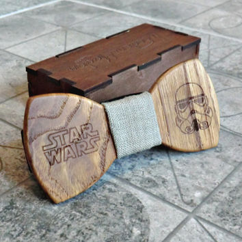 Star Wars Bow Tie Groomsmen gift Star Wars gift Valentines gifts for him Wedding Gifts for Mens Wooden Bow Tie Boyfriend gift Fathers day
