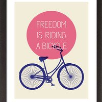 Mid Century Style Freedom is Riding a Bicycle Poster  by 3279Press