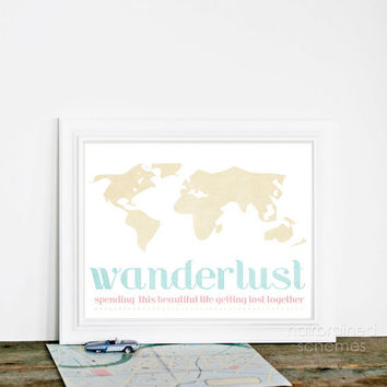 Digital Art Print Wanderlust - Travel Holiday Vacation Love Wedding Anniversary Art Print Poster Pale Pastel Pink Blue Beige