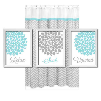 Relax soak unwind grey gray teal blue from trm design for Teal and grey bathroom sets