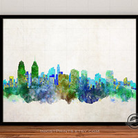 Philadelphia Skyline Watercolor Poster, Pennsylvania Print, Cityscape, City Painting, State, Illustration Art Paint, Giclee Wall, Home Decor